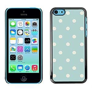 FlareStar Colour Printing Polka Dot Vintage Rustic Blue Baby Pattern cáscara Funda Case Caso de plástico para Apple iPhone 5C