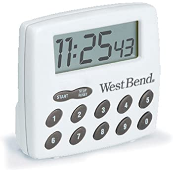 West Bend 40005X Easy To Read Digital Magnetic Kitchen Timer Features Large Display And Electronic Alarm White