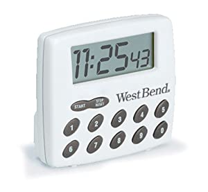 West Bend 40005X Easy to Read Digital Magnetic Kitchen Timer Features Large Display and Electronic Alarm, White
