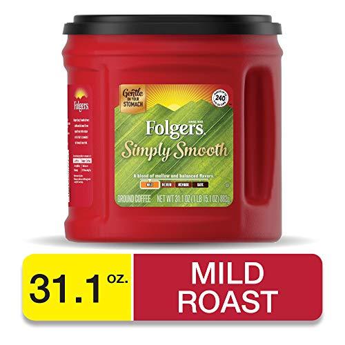 Folgers Simply Smooth Coffee, Medium Roast Ground Coffee, 31.1 Ounces (Best Way To Store Ground Coffee)