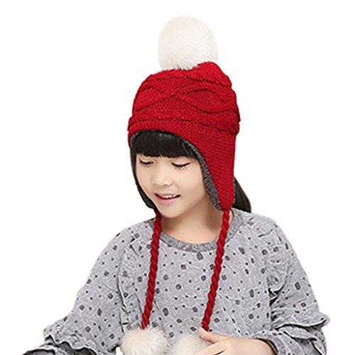 (Unisex Children Toddler Baby Winter Wool Crochet Knit Earflap Hat Thick Sherpa Fleece Lined Warm Beanie Skull Cap Trapper Ski Hat with Fur Ball Pom Pom Earflap Hood Hat Xmas Gift for Kids Boys Girls)