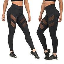 Susenstone High Waist Skinny Leggings of Patchwork Mesh Push Up Yoga Pants