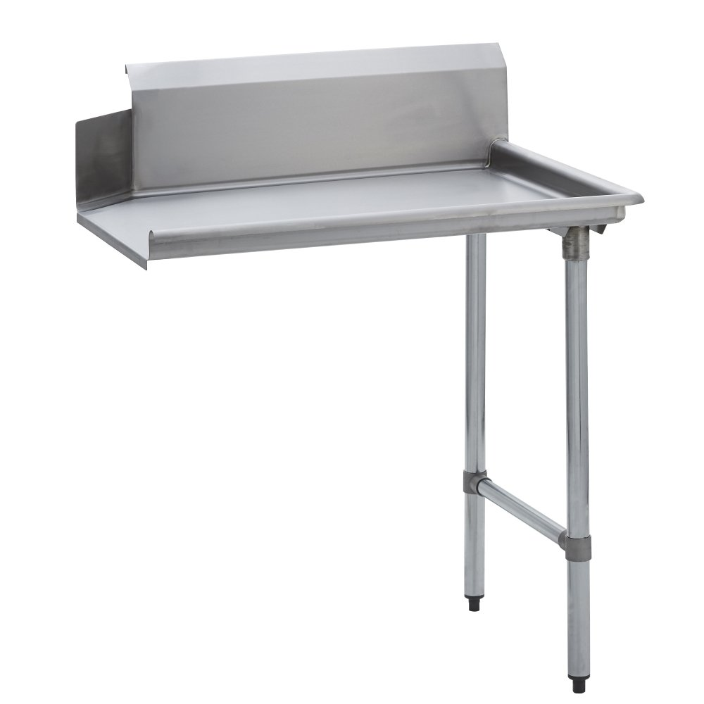 Fenix Sol Stainless Steel Commercial Kitchen Clean Dish Table, Right Side, 30' W x 36' L x 44' H, Galvanized Legs and Bracing 30 W x 36 L x 44 H