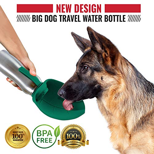 PupFlask Portable Water Bottle For Walking | 24 OZ Stainless Steel | Convenient Dog Travel Water Bottle Keeps Pup Hydrated | Portable Dog Water Bowl & Travel Water Bottle For Dogs (Quetzal Green) by Tuff Pupper (Image #4)