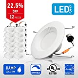 IN HOME 6-inch LED Downlight RETROFIT KIT Recessed Lighting Fixture, 18W (90W Equivalent), Dimmable, 4000K (Bright white), 1200 Lumens, (12 Pack), UL and ENERGY STAR listed