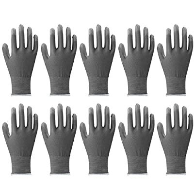 MJ 10 Pairs Industrial PU Coating Knit Protective Safety Work Gloves Grey