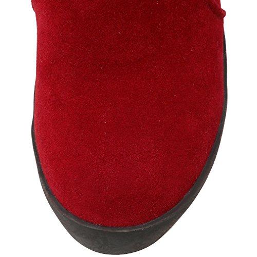 ENMAYER Mujeres Nubuck de la Manera Caliente de Altura Botas Tacones El Aumento de la cuña de la Rodilla Altura Rojo