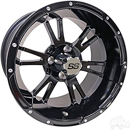 Amazon Com 14 Golf Cart Wheel Black Rim Center Cap 14x7 Et 25 Sports Outdoors