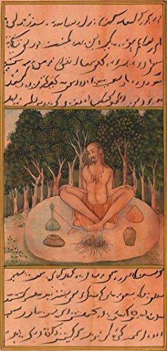 ArtnIndia Yoga Asana Art Handmade Indian Persian Miniature Kumbhaka Pranayama Painting (Miniature Persian Art)