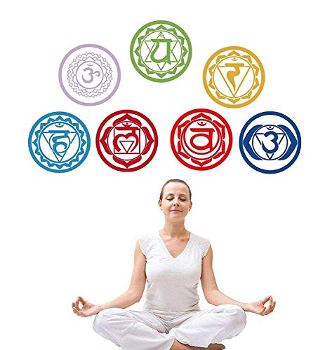 MuOu Vinyl Chakras Stickers (Set of 7 Pieces) Health Aum Meditation Yoga Meditation Symbol Art Wall Decals Home Decoration Mantra Meditation Carved - Mandala Chakras