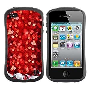 """Hypernova Slim Fit Dual Barniz Protector Caso Case Funda Para Apple iPhone 4 / iPhone 4S [Nieve del árbol de navidad del brillo del invierno""""]"""