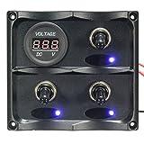CoCocina 3 Gang LED Toggle Switch Panel Digital Battery Voltmeter For Caravan Boat Marine