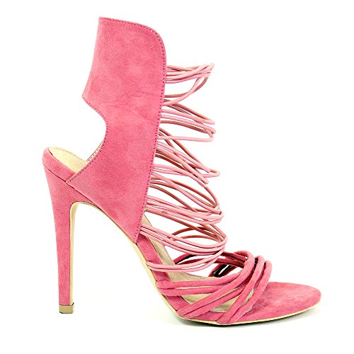 NEW GIRLS WOMENS BLOCK HEEL SANDALS LADIES ZIP UP PEEP TOE STRAPPY PARTY SHOES BLACK RED PINK BLUE KHAKI 3-8 Pink
