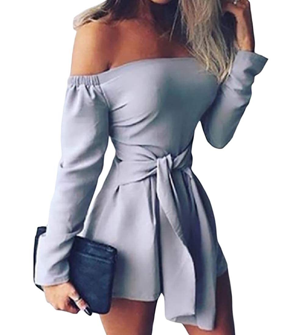 Hajotrawa Womens Off Shoulder Lace Up Short Pants Summer Long Sleeve Rompers