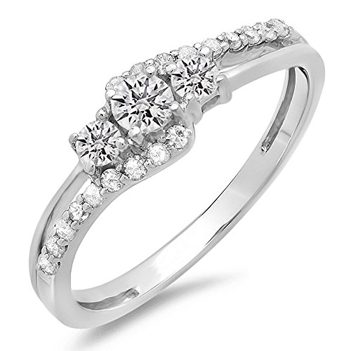 Dazzlingrock Collection 0.45 Carat (ctw) 10k Round Diamond Ladies 3 Stone Bridal Engagement Promise Ring 1/2 CT, White Gold, Size 5 ()