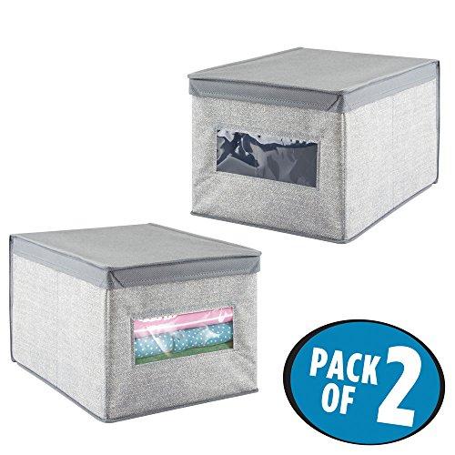 mdesign 2er set stoffboxen mit deckel gro e aufbewahrungsbox aus 2er set ebay. Black Bedroom Furniture Sets. Home Design Ideas