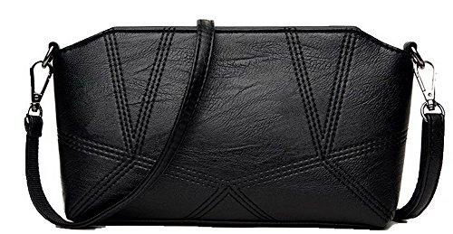 AgooLar Femme Enveloppe Achats Zippers Nubuck Sacs à bandoulière,GMBBB180946 Noir