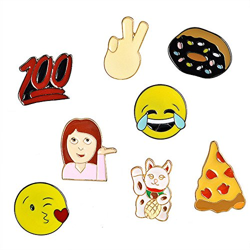 Cartoon Enamel Lapel Pins Cut Brooches Pin Badges for Children Women Girls Clothing Bags Backpacks Jackets Hat Decor (Emoji Doughnut Pizza set of 8)