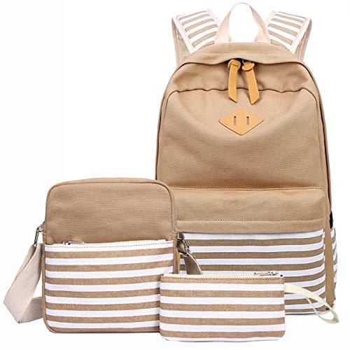 Canvas Backpack Teen Girls,Miya Unisex Lightweight Student School Backpack Fashion Book Bag Outdoor Travel Laptop Backpacks 3 Pieces Set - Khaki by MIYA LTD