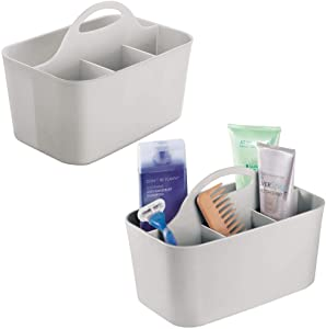 mDesign Plastic Portable Storage Organizer Utility Caddy Tote, Divided Basket Bin with Handle, for Bathroom, Dorm Room - Holds Hand Soap, Body Wash, Shampoo, Conditioner, Lotion - 2 Pack, Small, Gray