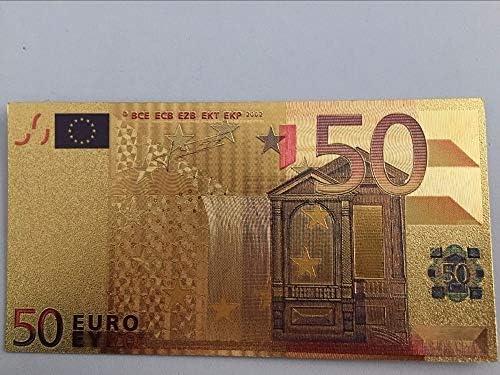 ZYZRYP 1PCSユーロ50 24Kゴールド紙幣箔手形、欧州連合(EU)紙のフェイクマネーコレクション通貨ヴィンテージ土産Chirstmasのギフト 使いやすい (色 : A)
