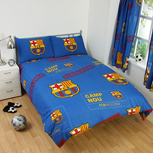 FC Barcelona Patch Double/US Full Duvet Cover and Pillowcase Set + Football Colour Changing Light