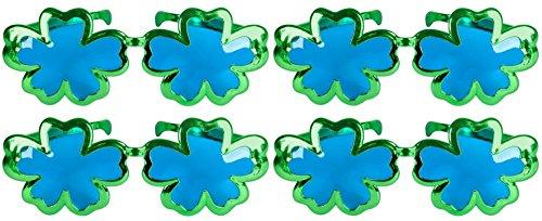 ST. Patricks Day Green Shamrock Jumbo Metallic Sunglasses - 4 Pack