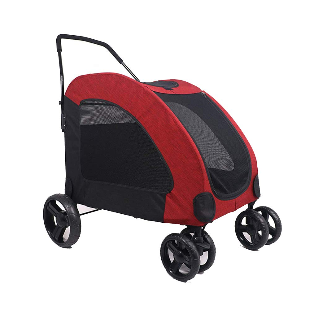 Red Pet Stroller 4 Wheeled, Large 360 Degree redatable Dog Cat Pram,with Safety Breaks, Netted Windows and Pockets,for Cat and Dog Stroller