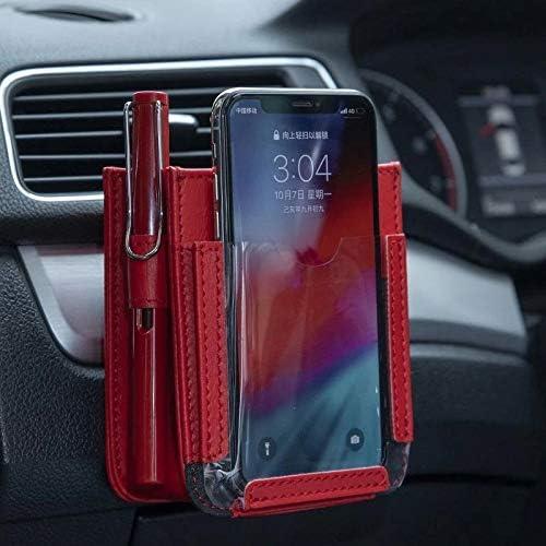 KJING Aufbewahrungstasche für die Lüftungsschlitze, multifunktionale Autotasche fürs Auto, Handyaufbewahrung, kleine Tasche, Organizer beige (rot)