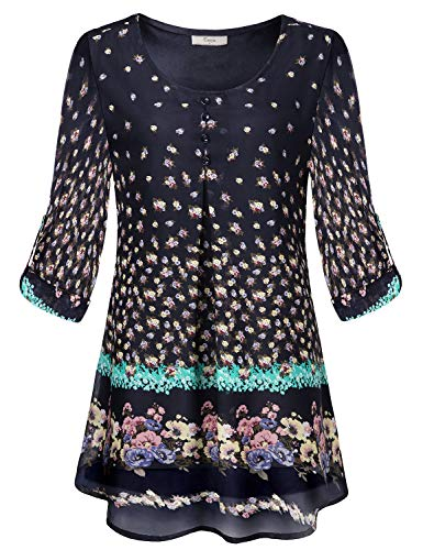 Cestyle Printed Blouse,Misses Cute Round Neckline Cuffed Sleeve Tunics for Jeans Womens Fall Fashion 2018 Pleated Layered Lightweight Chiffon Green Flower Pattern Black Large