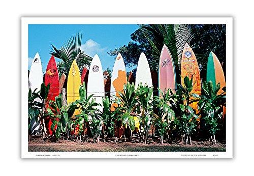 Pacifica Island Art Old Surfboards Never Die - Maui Hawaii - Original Color Photograph by Bernard Fickert - Hawaiian Master Art Print - 12 x 18in
