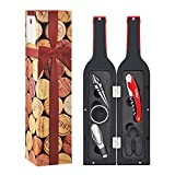 Wine Bottle Accessories Gift Set - Wine Opener Kit Corkscrew Screwpull, Stopper, Aerator Pourer, Foil Cutter, Drip Ring with Drink Stickers by Kato, Best Gift for Wine Lover, Red