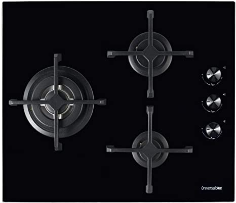 UNIVERSALBLUE   Placa de Gas Butano y Natural Negra   3 Fuegos   Potencia 6200 W   Cristal Templado   Encendido eléctrico