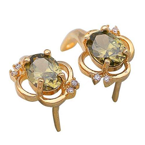 fonk: gift Green & White Topaz 18k gold Peridot Stud earrings 21