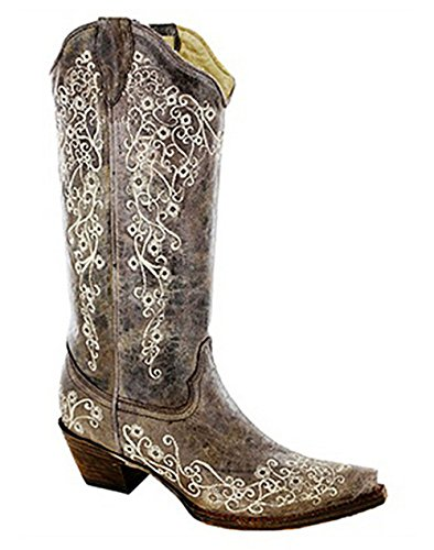 Embroidery Corral Brown Embroidery Crater Crater Western Bone Brown Ladies Bone Boot fwI6qHw