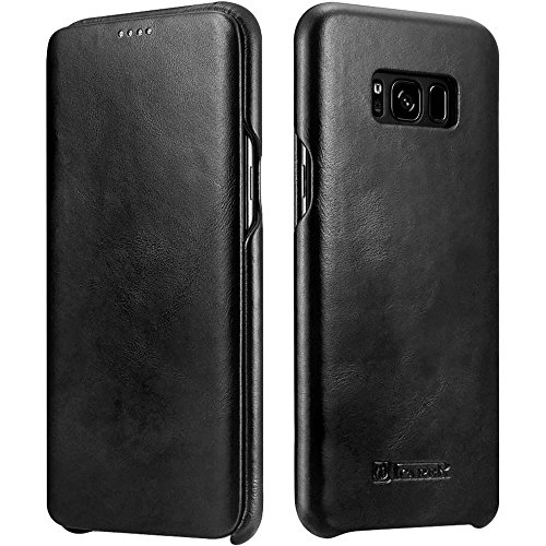Galaxy S8 Leather Case, Icarercase Genuine Vintage Leather Flip Folio Opening Cover in Curved Edge Design, Side Open Case with Hidden Magnetic Snap for Samsung Galaxy S8 5.8 Inch (Black)