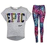 Kids Girls '' EPIC '' Printed Stylish Crop Top & Fashion Legging Set 7-13 Years