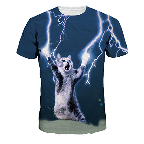 Unisex Power Lightning Cat Short Sleeve T-Shirt Comfy Soft Crewneck T Shirts , (M=US S)