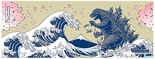 (Tenugui Cloth 'Godzilla and Hokusai's Great Wave w/Sakura Cherry Blossoms' Japanese Cotton Fabric)