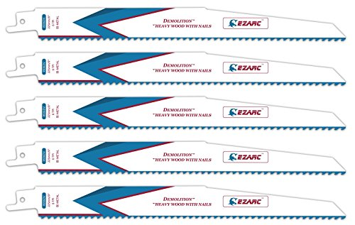 EZARC Reciprocating Saw Blade Heavy Wood Demolition 9-Inch 6TPI R936DV (5-Pack)
