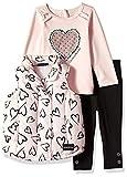 Calvin Klein Baby Girls 3 Pieces Puffer Vest Set, Pink/Black, 18M