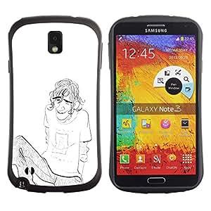 Be-Star Impreso Colorido Diseño Antichoque Caso Del Iface Primera Clase Tpu Carcasa Funda Case Cubierta Par SAMSUNG Galaxy Note 3 III / N9000 / N9005 N9000 N9002 N9005 ( boy guy man pencil chilling drawing art brow )