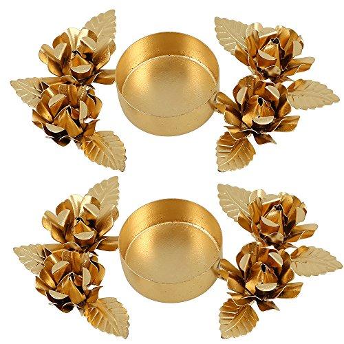 Indian Home Decorations Christmas Gifts Lights Candle Holder - Set Of 2 - Floral Arrangements