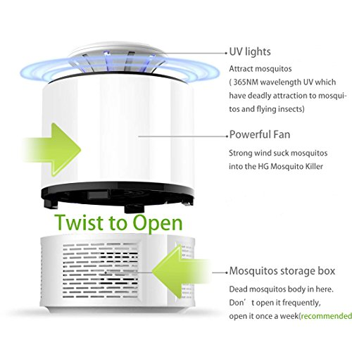 HUNTINGOOD Fly Trap/Electric Mosquito Insect Killer/Bug Zapper with 360  Degrees LED Trap Lamp,Strong Built in Suction Fan,USB Power