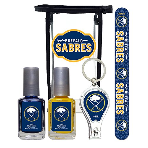 NHL Buffalo Sabres Manicure Pedicure Set with 7-Inch Nail File, Nail Clippers, 2 Nail Polishes in Team Colors, and Toiletry Bag for the Whole Kit. NHL Gifts for Women.