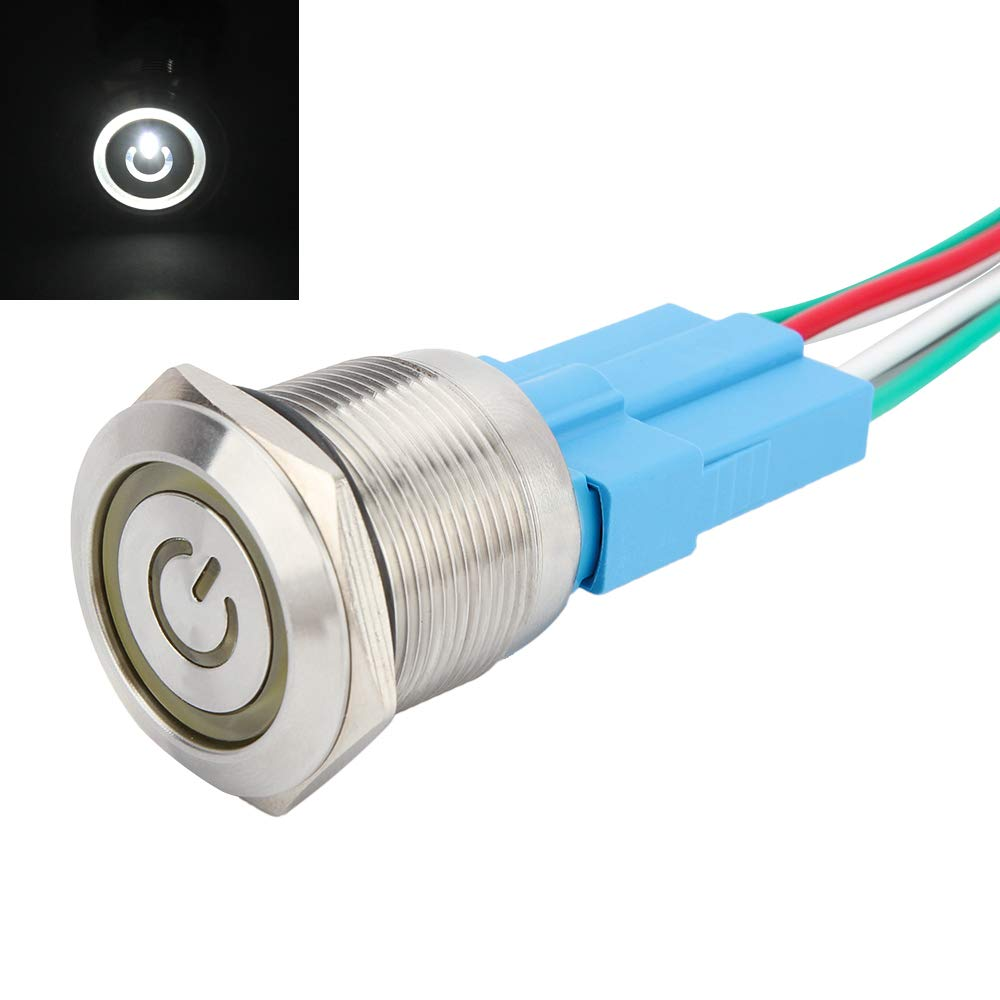 Senzeal Metal Push Button Switch Stainless Steel 12V 22mm 0.87Inch Angel Eye ON//OFF LED Ring with Socket Plug Power Symbol Green