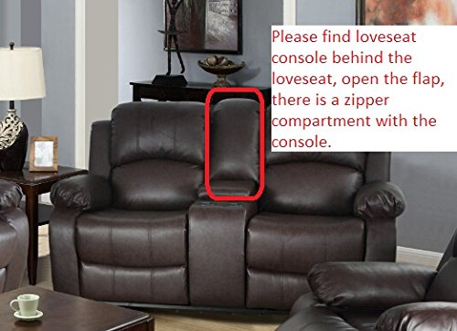 Lifestyle Bonded Leather Sofa, Loveseat, Chair with Drop Down Table, 5 Recliners, 1 Set Brown, 3 Piece