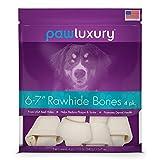 Pawluxury 6-7 Inch Rawhide Bones by (4 Pack) Durable Long-Lasting Beef Dog Chews
