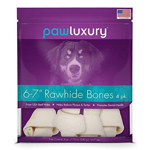 6-7 Inch Rawhide Bones by Pawluxury (4 Pack) Durable Long-Lasting Beef Dog (Best Buddy Bones Beef)