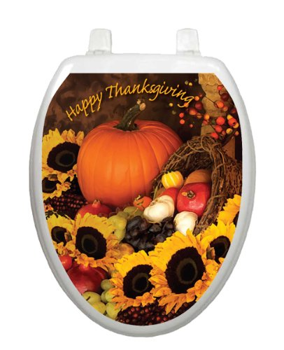 Bountiful Harvest Toilet Tattoo TT-1112-O Elongated Winter Holiday Lena Fiore'